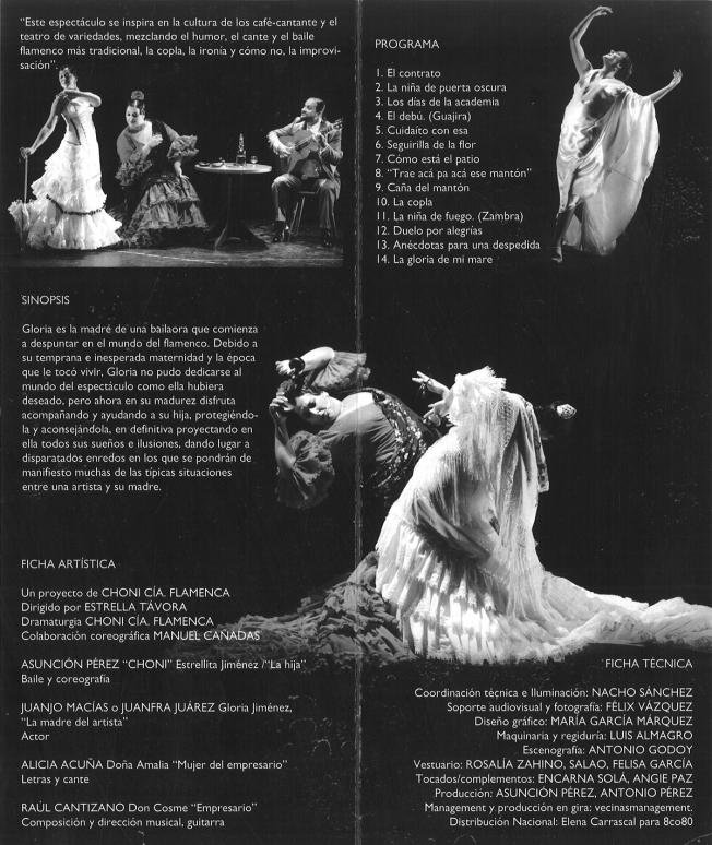 """Ficha técnica del espectáculo flamenco """"La Gloria de mi madre""""  (Choni Cía Flamenca)"""